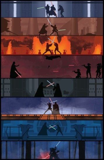Lightsaber battles throughout the Star Wars saga