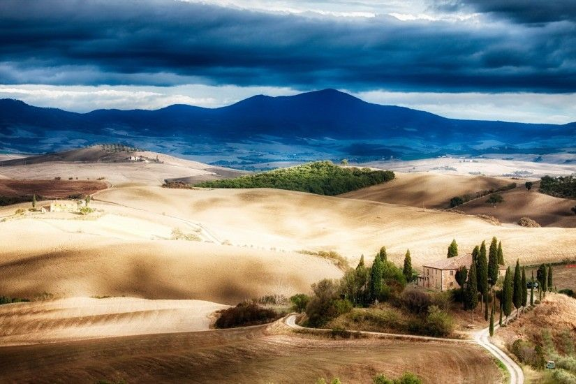 Farms - Tuscan Landscape Autumn Hill Fields Farms Clouds Mountains Trees  Full HD for HD 16