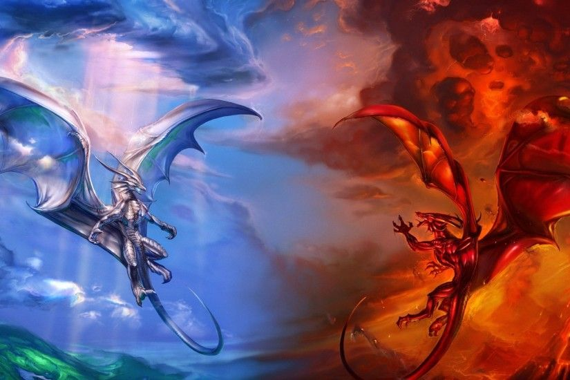 cool fantasy red blue dragons wallpapers - full HD backgrounds