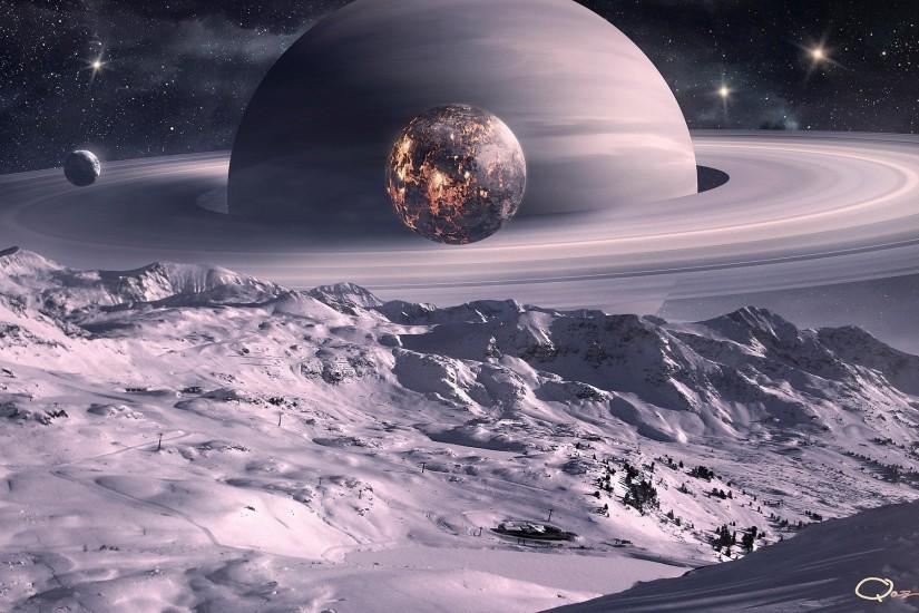 Outer space planets Moon Saturn digital art science fiction QAuZ wallpaper  | 1920x1200 | 346380 | WallpaperUP