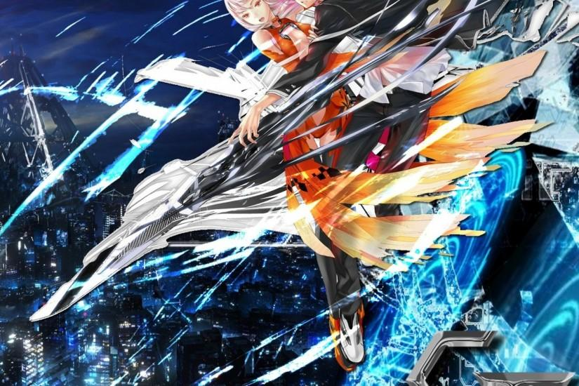 Preview wallpaper guilty crown, male, female, flight, city 2048x2048