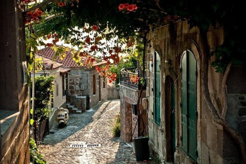 world architecture buildings town village sidewalk path trail scenic  flowers rustic place window door wallpaper