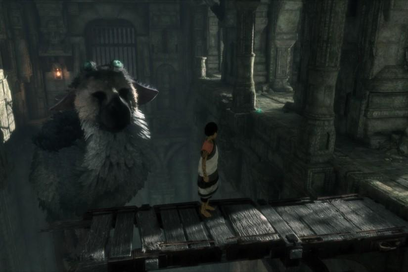 Be patient and Trico will climb onto the pillar when he's ready. Jump out  and onto his tail, then climb up to his head. Jump to the ledge, then work  your ...