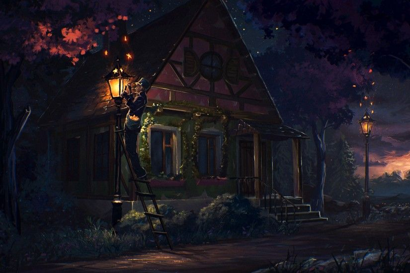 Preview wallpaper house, fairy tale, art, light, night 3840x2160