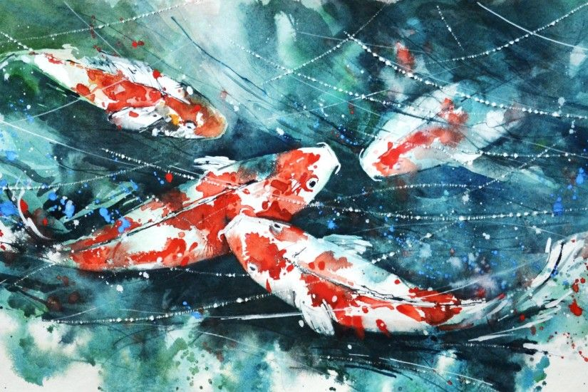 koi, Painting, Watercolor, Fish, Artwork, Paint splatter Wallpapers HD /  Desktop and Mobile Backgrounds