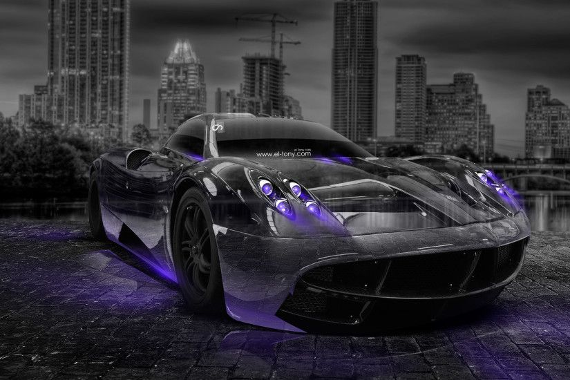Bon Pagani Huayra Crystal City Car 2014 Violet Neon