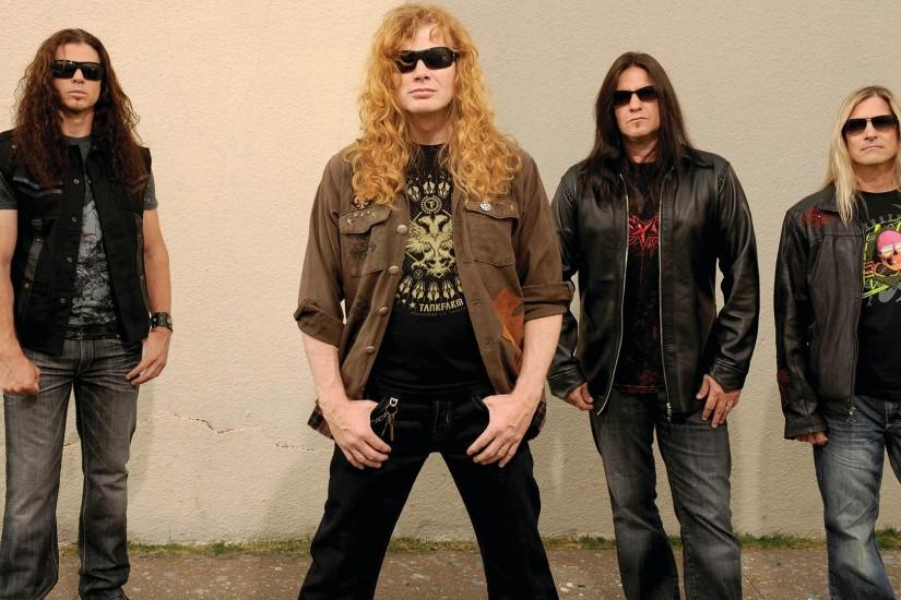 Preview wallpaper megadeth, glasses, hair, jackets, wall 1920x1080