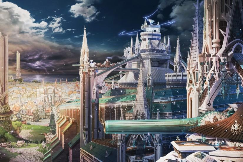 Clouds castles cityscapes fantasy art anime cities #1
