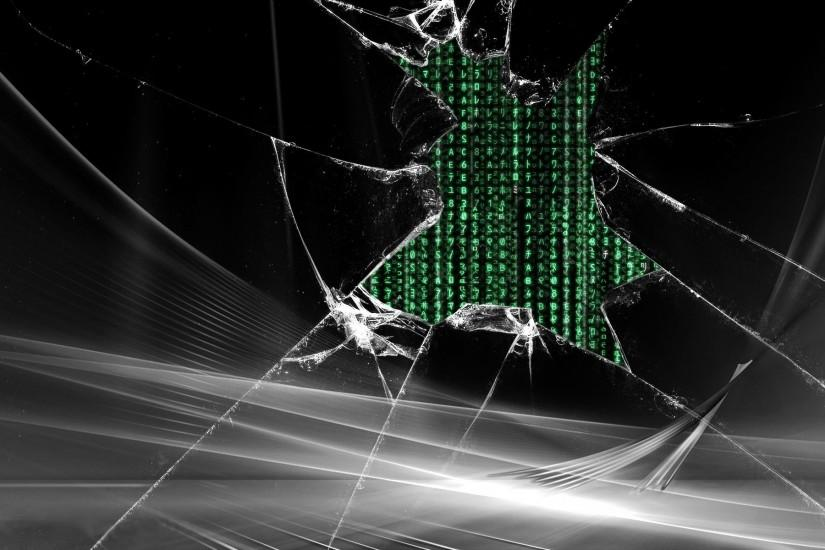 Miscellaneous Digital Art Broken Glass Matrix Code FullHD Wallpaper