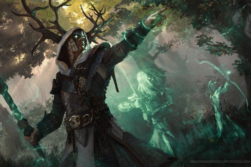General 1920x1248 fantasy art magic ghost druids digital art forest green  eyes