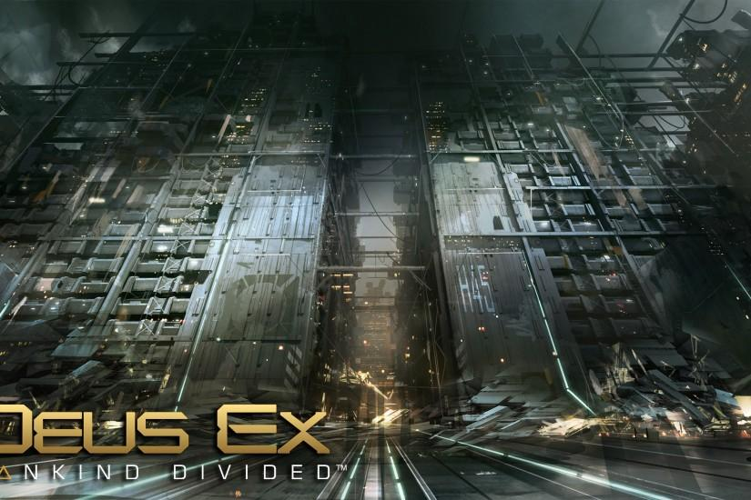 Destroyed buildings in Deus Ex: Mankind Divided wallpaper 2560x1440 jpg