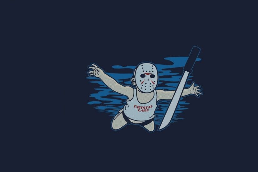 minimalistic funny nirvana friday the 13th jason voorhees Wallpaper HD