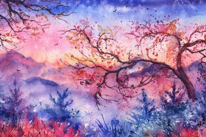 Christmas Landscape Trees Foliage Watercolor Birds Painted Evening Sunset  Mountains Abstract Nature Wallpaper Free