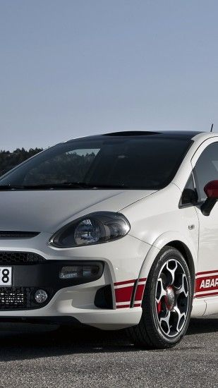 1440x2560 Wallpaper abarth, punto evo, 2010, white, sports, front view,