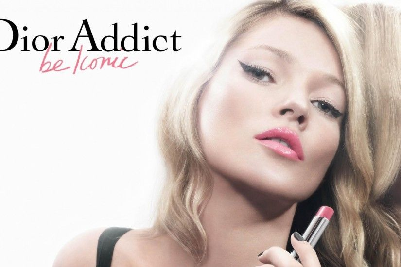 2048x1152 Wallpaper kate moss, dior addict, girl, lipstick, close-up