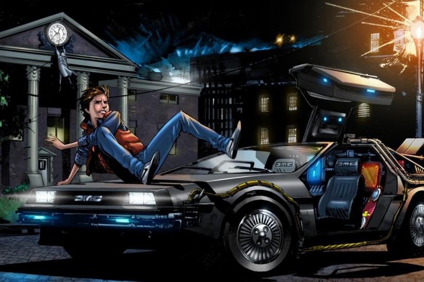 Preview wallpaper back to the future, marty mcfly, art, delorean dmc-12