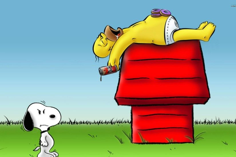 Wallpaper funny snoopy and homer simpson