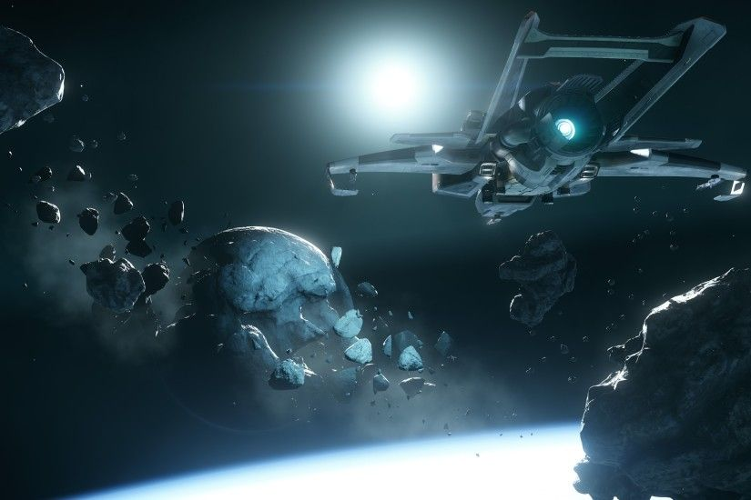 Video Game - Star Citizen Spaceship Asteroid Space Wallpaper