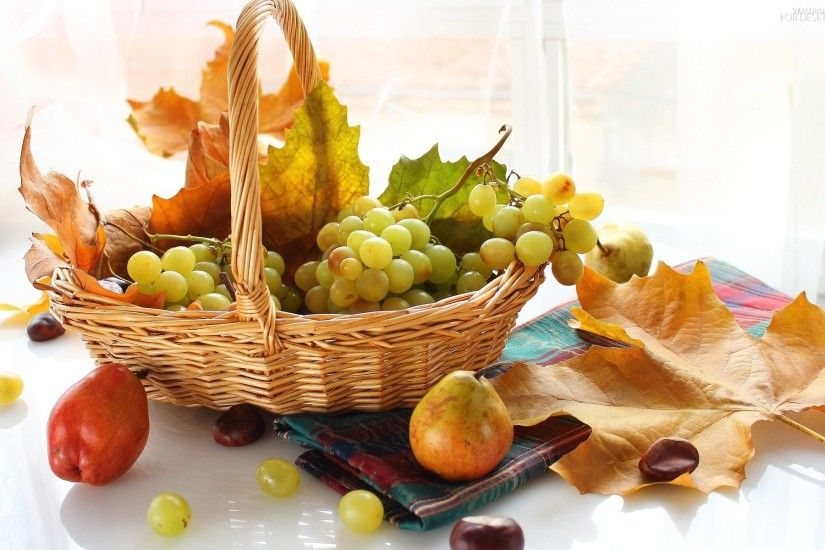 chestnuts, Leaf, Fruits, basket, autumn