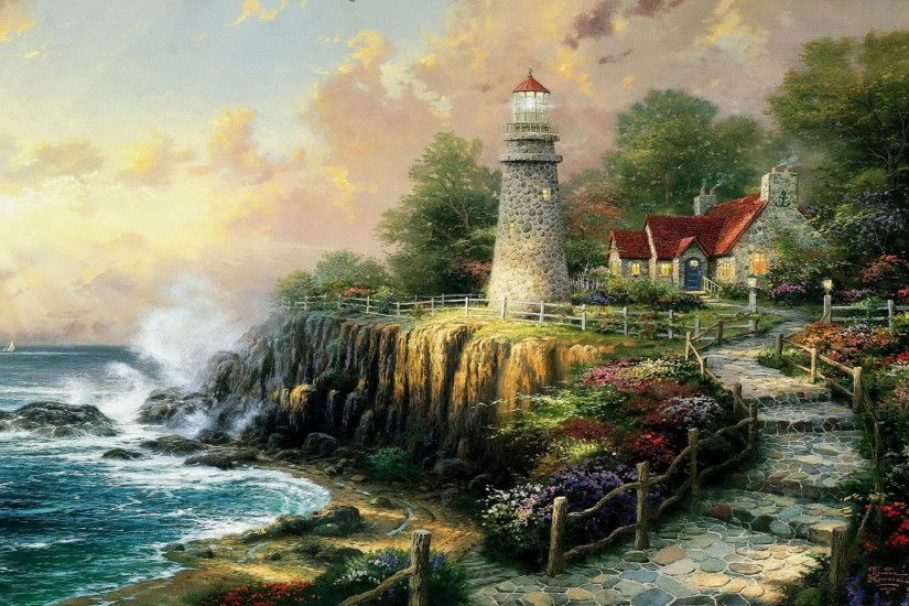 thomas kinkade | Thomas Kinkade Wallpaper 32, Art Wallpaper, Art Painting  Wallpaper