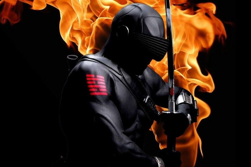 Snake Eyes (G.I. Joe) with sword on fire - Wallpapers Picture