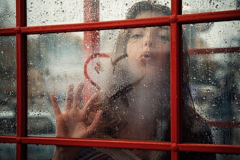 girl rain window drops heart kiss