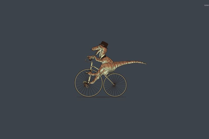 T-Rex on bicycle wallpaper 1920x1200 jpg