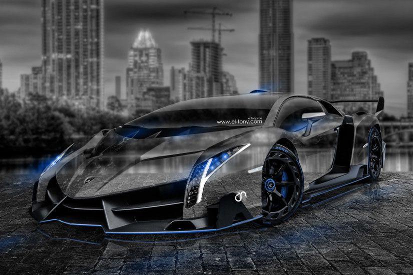 Lamborghini Veneno Crystal City Car 2014 Photoshop