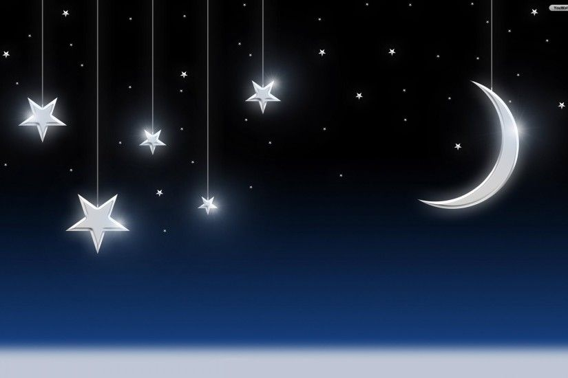 Moon and Stars Wallpaper - wallpaper,wallpapers,free wallpaper .