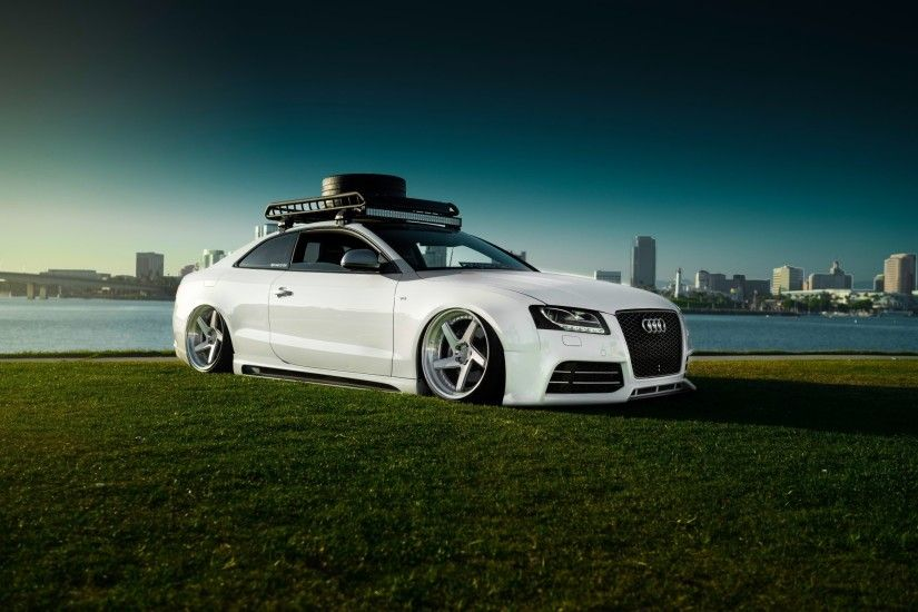 audi rs5 stancenation white grass sky car low