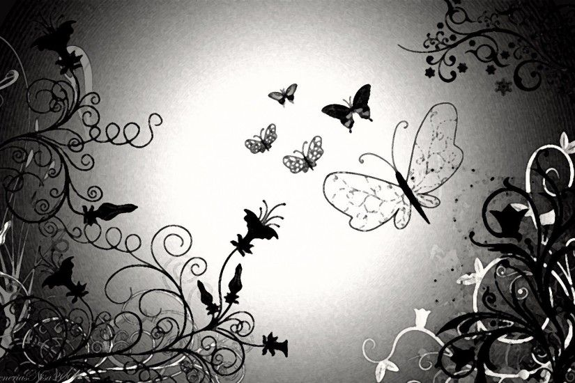 Butterfly Black And White wallpaper