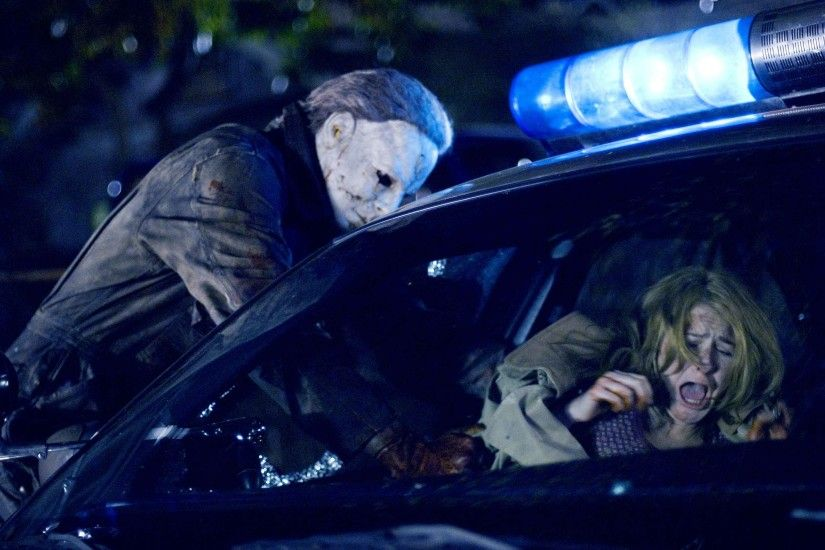 Tyler Mane (Michael Myers) and Scout Taylor-Compton (Laurie Strode) star
