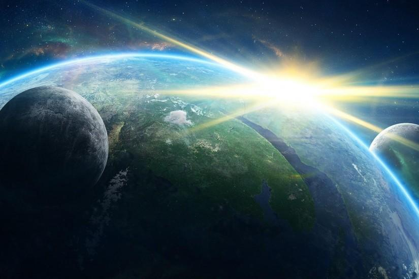 Preview wallpaper planet, galaxy, light, rays, stars 3840x2160