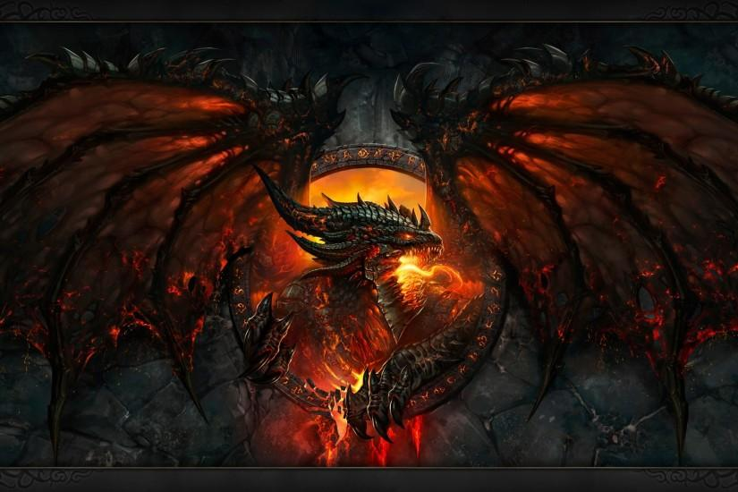 Preview wallpaper world of warcraft, dragon, fire, face, wings 1920x1080