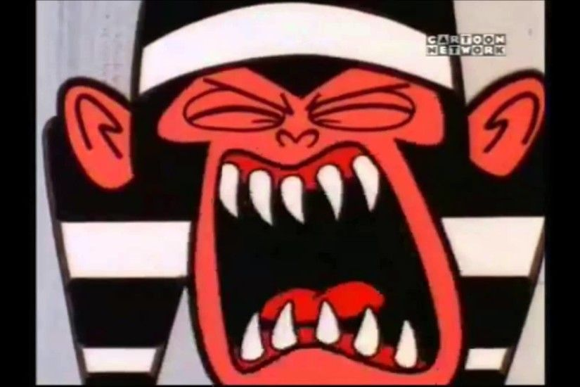 The Powerpuff Girls Mojo Jojo is screeching of screaming in Jail