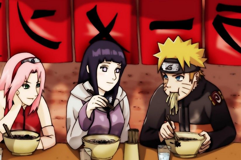 Preview wallpaper sakura, hinata, naruto, ninja, girl, man, meal 2048x1152