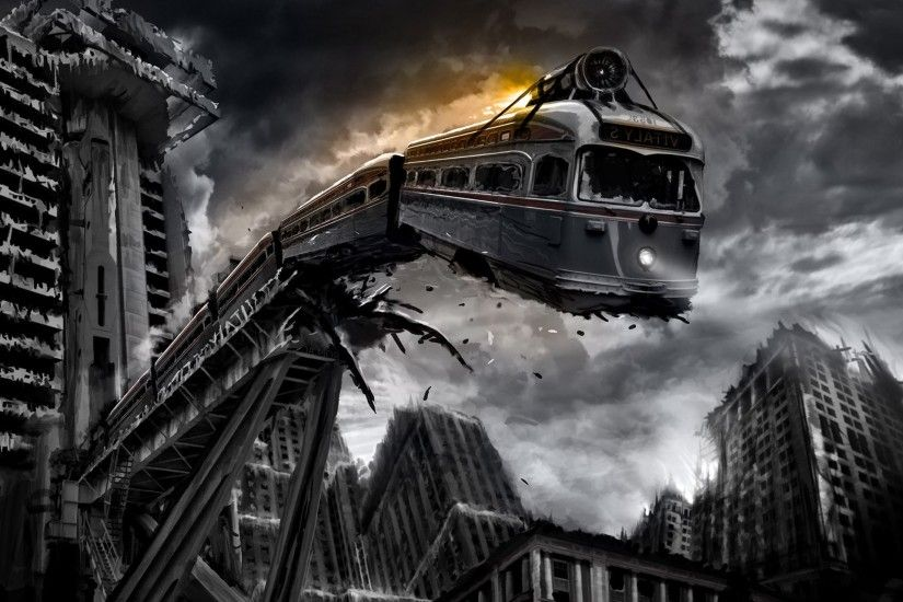 train, Monochrome, Apocalyptic, Digital Art, Romantically Apocalyptic  Wallpaper HD