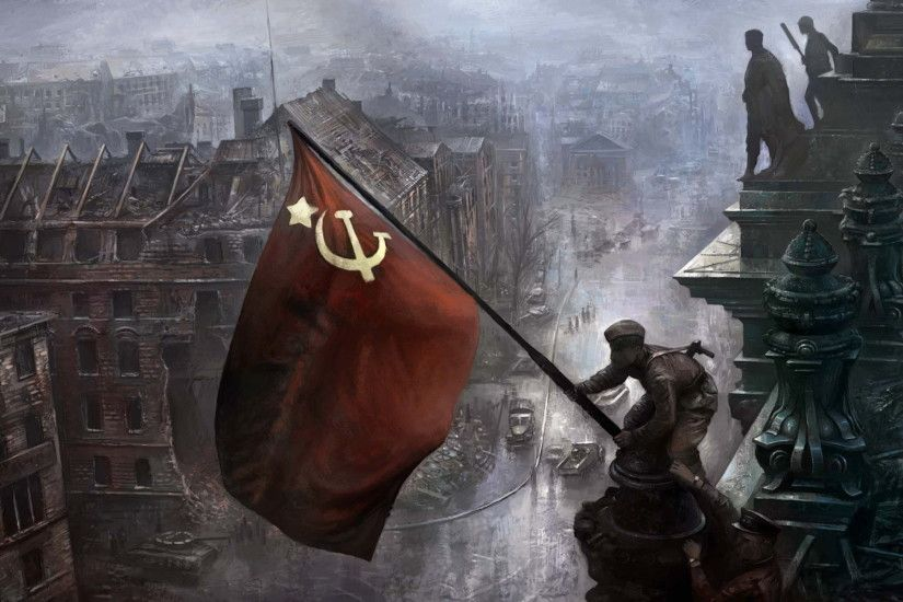 1920x1200 world war II, ussr, victory, soldiers, berlin, flag