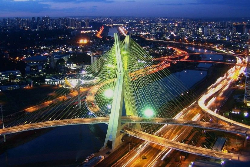 Wallpaper panorama, Sao Paulo, bridge, home, river, Brazil images .