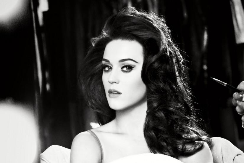 Preview wallpaper katy perry, eyes, face, singer, black and white 3840x2160