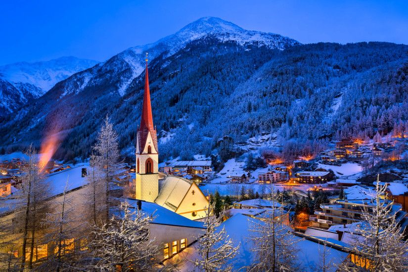 Man Made - Village Man Made Austria Winter Snow Light Tree Mountain Church  Wallpaper