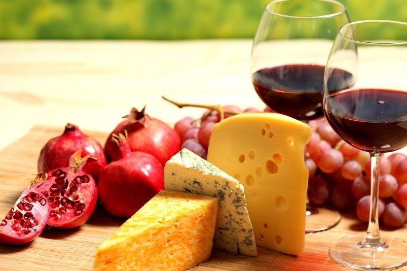 Wallpaper Wine, Glasses, Red, Pomegranate, Grapes, Cheese, Grades HD,  Picture, Image