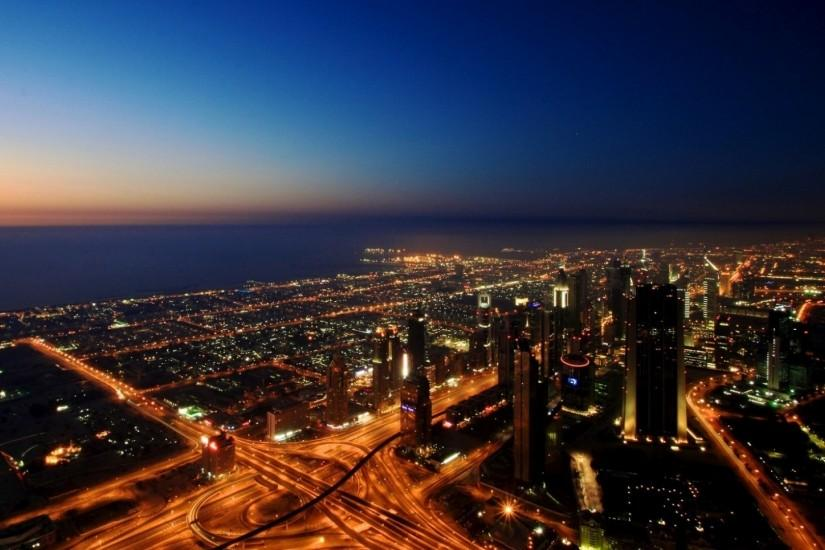 Preview wallpaper dubai, uae, city, roads, lights, sea 1920x1080
