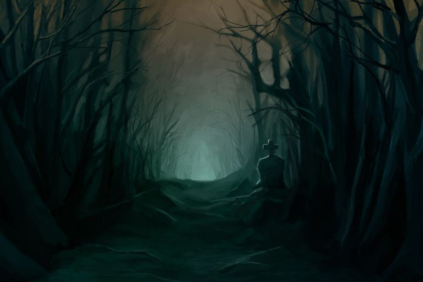 Dark Halloween Trees Forest Woods Night Scary Spooky Creepy Picture