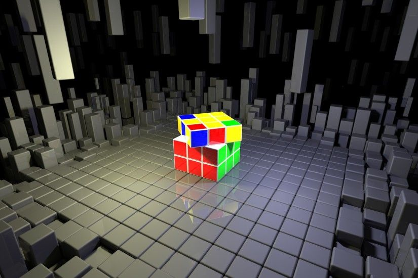 Rubik's Cube on top of gray cubes wallpaper
