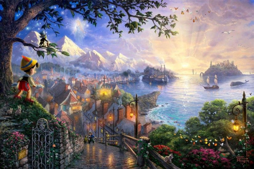 Thomas Kinkade's Disney Paintings - Pinocchio - Walt Disney .
