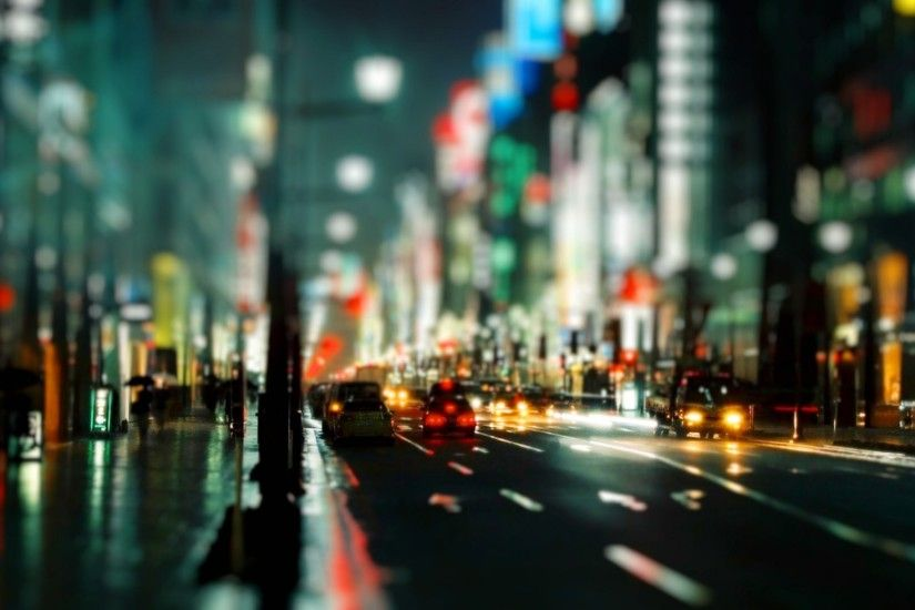 Street Lights Bokeh Cars Night Time Wide HD Wallpaper - OmWallpapers