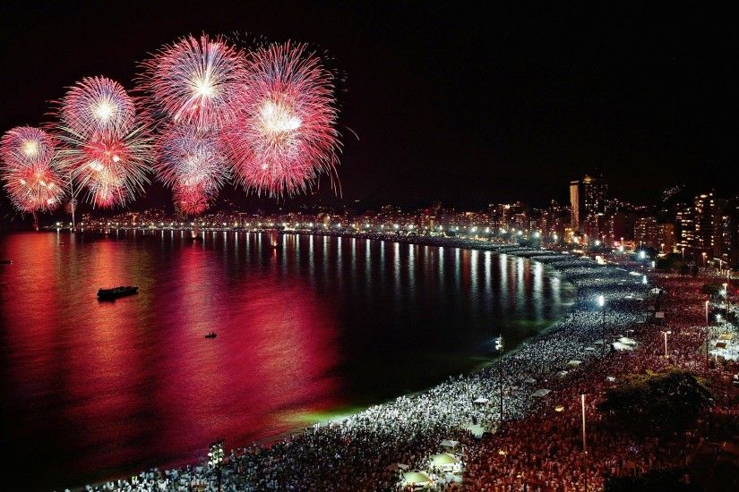 New Year, Holiday, Fireworks, Coast, Crowds Wallpapers HD / Desktop and  Mobile Backgrounds