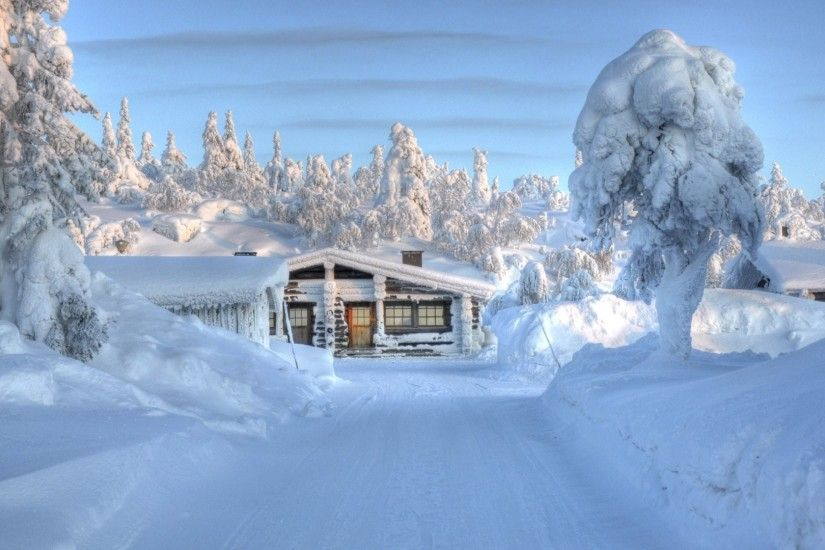 Log Cabin in Snowy Lapland . hope they have lots of Firewood!