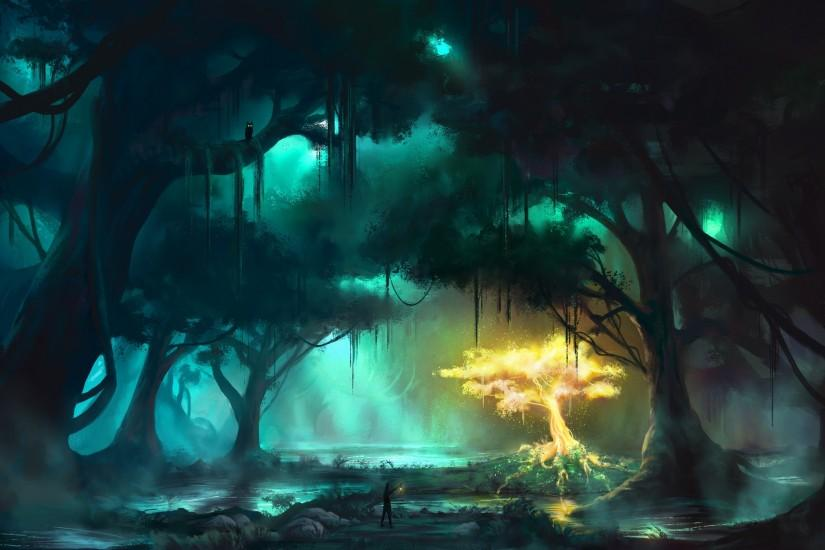 Fantasy Forest Lighting Tree Art HD Wallpaper